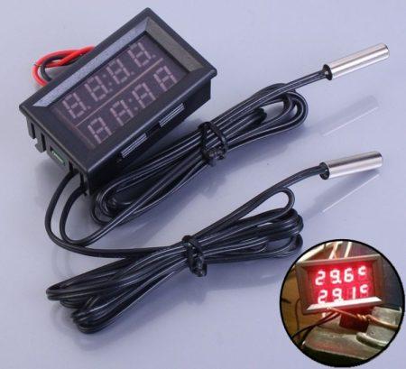 Hőmérő panel, dupla kijelző, dupla hőmérséklet mérés -20 - +100 fok LED piros KIFOGYOTT !!!!!