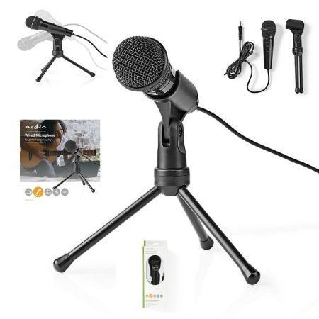 Mikrofon, Háromlábú álvánnyal, Notebook, Okostelefon, Tablet, Vezetékes, 1x 3.5 mm jack dugó (MICTJ100BK) RENDELÉSRE !!!!! 2-3 munkanap