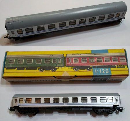 TT vagon személyszállító kocsi ezüst vasútmodell eredeti állapot KAPHATÓ !!!!!