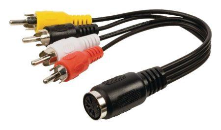 5 pólusú DIN aljzat- 4 RCA dugóval szerelt kábel. Hossza: 0,2m (CAGP20475BK02) KAPHATÓ !!!!!!