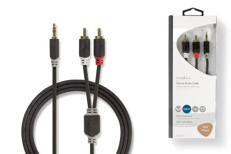 2RCA-3,5mm 1m szt. jack kábel aranyozott fém csatlakozók, oxigénmentes réz kábel. (CABW22200AT10) KÜLSŐ RAKTÁRON !!!!! 1-2 munkanap