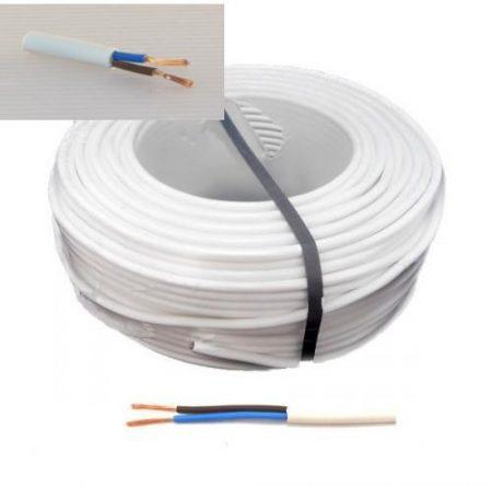 MT 2x1, 5mm2 duplán szigetelt hajlékony hajlékony réz kábel vezeték fehér KAPHATÓ !!!!!!!!