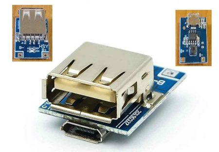 Power bank vezérlő áramkör, 5V kimenet 1.2A, töltés-merítés, 1cellához RENDELÉS ALATT !!!!