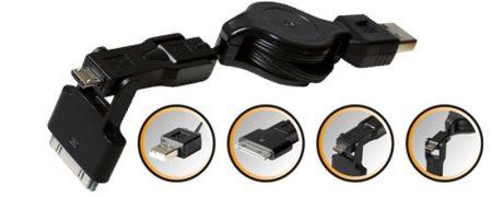 3 az 1-ben USB kábel A - mikro USB felcsévélhető 70cm-ig (telefon tablet töltőkábel (SA 042) KAPHATÓ !!!!!!