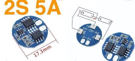 Li-ion 18650 Cella védelemmel ellátott modul BMS - 2 Cella töltés, és merítés védelméhez 5A KAPHATÓ !!!!!!