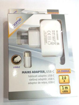 USB hálózati töltőt, USB C dugóval 1m, fehér, kimeneten max 2A. AKCIÓS !!!!!! KAPHATÓ !!!!!!