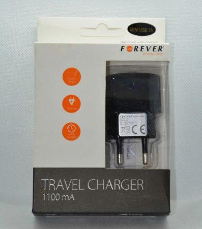 USB hálózati töltőt, USB MINI dugóval 1m, fekete, kimeneten max 1,1A. AKCIÓS !!!!!! KAPHATÓ !!!!!!