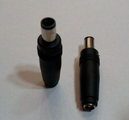 DC átalakító adapter 7,4/5mm, középen 0,6mm tüskével dugó - 5,5/2,1 aljzat KÉSZLETHIÁNY !!!!!!