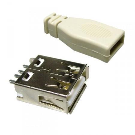 USB  A  szerlhető aljzat. + Műanyag ház. (5049) KIFOGYOTT !!!!!!!!