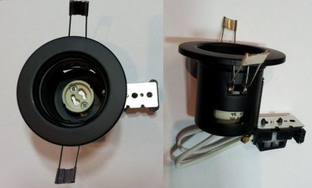 Beépíthető lámpatest GU10 halogénhoz vagy LED-hez FEKETE szín  AKCIÓS !!!!!!