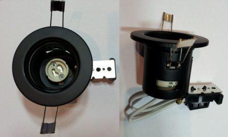 Beépíthető lámpatest GU10 halogénhoz vagy LED-hez FEKETE szín  AKCIÓS !!!!!! KAPHATÓ !!!!!!