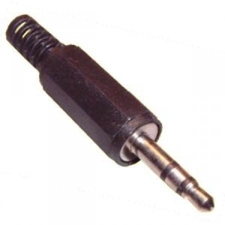 2,5mm-es szereó jack dugó, műanyag fekete házban (05102)