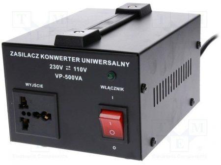 Asztali feszültség konverter 500W 230/110V (AUTOTRANSFORMÁTOR fém házban (VOLT VP-500VA) KÜLSŐ RAKTÁRON !!!! 3-4 munkanap (előre utalással)
