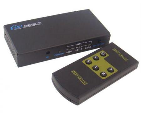 HDMI switcher (átkapcsoló) 3 csatornás 1080p nyomógombbal vagy távirányítóval AKCIÓS !!!!!! KAPHATÓ !!!!!!