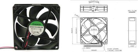 92-es SUNON ventilátor, 12V 92x92x25mm KÜLSŐ RAKTÁRON !!!! 3-4 munkanap