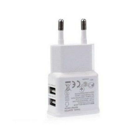 USB hálózati töltő: Univerzális 2xUSB aljzat, fehér, max kimeneten 2A, AKCIÓS !!!!! KAPHATÓ !!!!!!