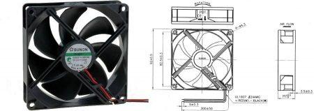 92-es SUNON ventilátor, 12V 92x92x25mm VAPO Szuper csendes 17.7dBA (70197) RENDELÉS ALATT !!!!!!!