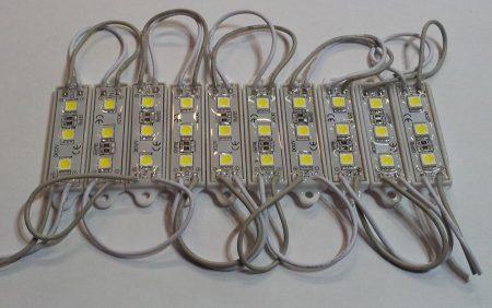 Led modul 3 ledes SMD5050 HIDEG-FEHÉR IP65 60 lumen!!!! AKCIÓS !!!!!!! KAPHATÓ !!!!!!
