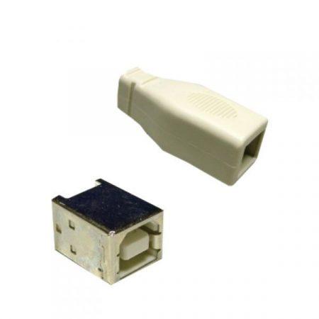 USB  B  szerelhető aljzat, + műanyag ház KIFOGYOTT !!!!!!