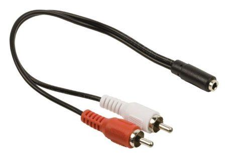 2x RCA dugó - 3.5mm stereo jack aljzat kábel 20cm (CAGP22255BK02) KAPHATÓ !!!!!!
