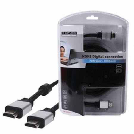 HDMI kábel 2,5m HDTV PROFI ezüst alumínium csatlakozó aranyozott tüskékkel KAPHATÓ !!!!!