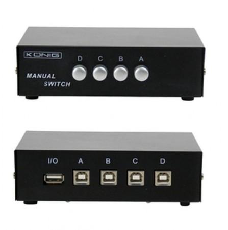 USB 4 portos választókapcsoló fémházas AKCIÓS !!!!!!! KAPHATÓ !!!!!
