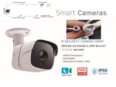 V-TAC Nagy felbontású IP biztonsági kamera (1080p - kültéri) KÜLSŐ RAKTÁRON !!!! 2-3 munkanap (előre utalással)