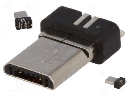 USB B micro dugó, kiönthető, forrasztható RENDELÉSRE !!!!!!