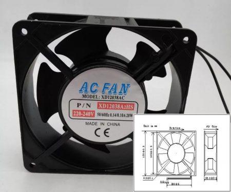 120x120x38mm 220-240V ventilátor (FD12038) KIFOGYOTT !!!!!