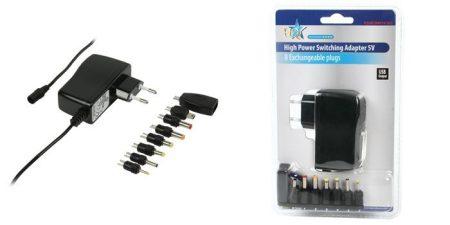5V 2500mA  Adapter cserélhető fejekkel, USB aljzat is van hozzá. (ACPA011) KÜLSŐ RAKTÁRON !!!!!! 1 munkanap