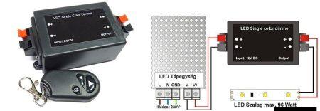 LED szalag dimmer (12-24V DC) - rádiós távirányítóval - 96 Watt RENDELÉSRE !!!!!!
