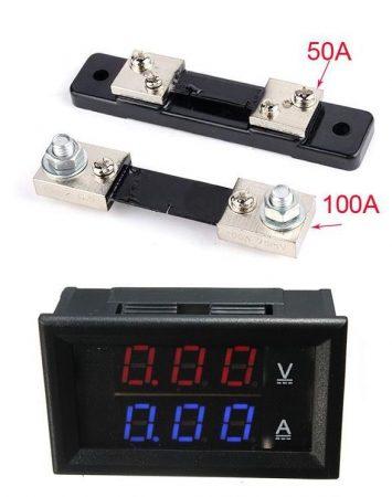 DC 0-100V 0-50A Dupla LED kijelző digitális voltmérő ampermérő modul RENDELÉS ALATT !!!!!!!