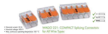 Oldható vezetékösszekötő 3-as, 4mm2-ig, 32A-ig (WAGO) ÚJ típus RENDELÉS ALATT !!!!!