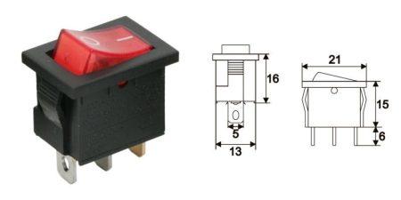 Billenő kapcsoló piros 2állású 1áramkör 15A 12V DC (PRK0020T-B12V) KIFOGYOTT !!!!!!