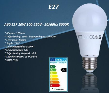 Ledlámpa E-27 10 Watt meleg-fehér SMD2835 806 lumen!!!! (A60 10W E27) AKCIÓS !!!! RENDELÉS ALATT !!!!!!
