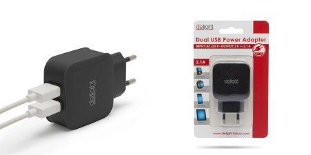 USB Hálózati Töltő 2 - Kimenet 2.1 A USB Fekete (55045-2BK) AKCIÓS !!!!! ÉRKEZIK !!!!!!