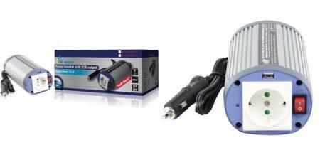 HQ ÁRAMÁTALAKÍTÓ 150W 24 > 230V + USB (HQ-INV150WU-24) RENDELÉSRE !!!!!