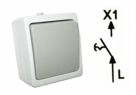 Lámpa kapcsoló (1 áramkörös falra szerelhető) 91008 RENDELÉS ALATT !!!!!!