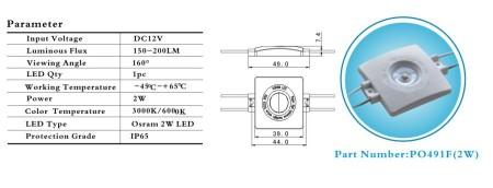 POWER LED modul OSRAM 2W 7-15Volt, HIDEG-FEHÉR IP67 vízálló 200 lumen!!!!! AKCIÓS !!!!!! KAPHATÓ !!!!!