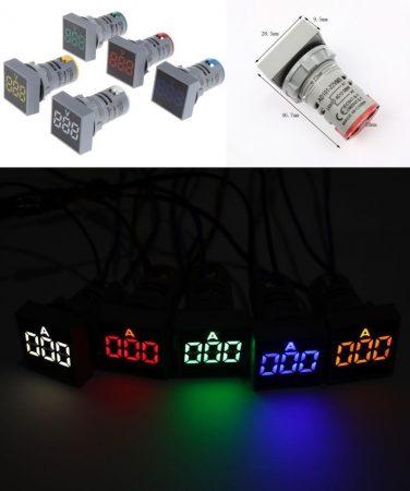 Digitális kék LED kijelzős AC voltmérő 22mm-es furatba süllyeszthető kivitel 80...400V AC RENDELÉSRE !!!!!!