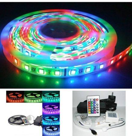 5m-es színes LED szalag szett, RGB, tápegységgel és távirányítóval AKCIÓS !!!! RENDELÉSRE !!!! 2-3 munkanap