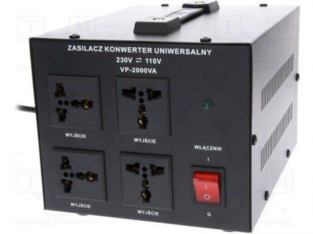 Asztali feszültség konverter 2000W 230/110V (AUTOTRANSFORMÁTOR fém házban (VOLT VP-2000VA) KÜLSŐ RAKTÁRON !!!! 3-4 munkanap (előre utalással)