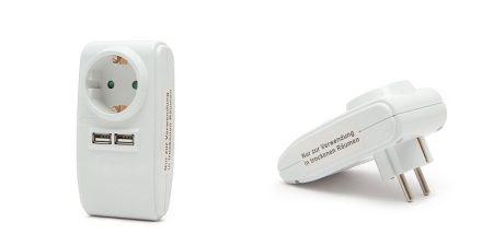 USB Hálózati Töltő Hálózati Aljzattal, 2db USB - Kimenet 3 A (55122) AKCIÓS !!!!! KAPHATÓ !!!!!!