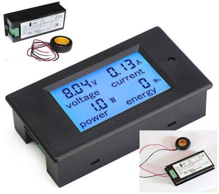 AC 80-260V 0-100A Nagyméretű LCD kijelző digitális Volt-Amper-Watt-Wattóra-Teljesítmény mérő műszer AKCIÓS !!!!! RENDELÉSRE !!!! 3-4 munkanap