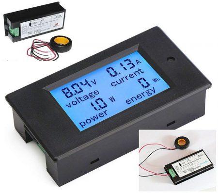 AC 80-260V 0-100A Nagyméretű LCD kijelző digitális Volt-Amper-Watt-Wattóra-Teljesítmény mérő műszer AKCIÓS !!!!! KAPHATÓ !!!