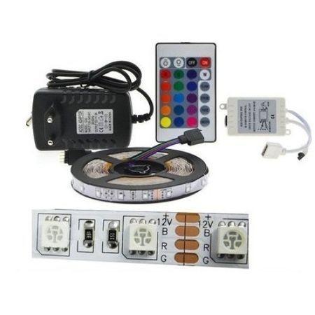 LED szett kültéri, 5 méter RGB szalag + vezérlő + tápegység 5050 60led/méter (15559) RENDELÉSRE !!!! 2-3 munkanap
