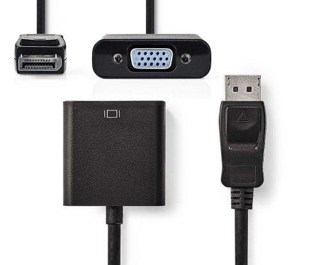 DisplayPort dugó - VGA aljzat, 0,2 m, aktív, Fekete (CCGP37350BK02) KAPHATÓ !!!!!!