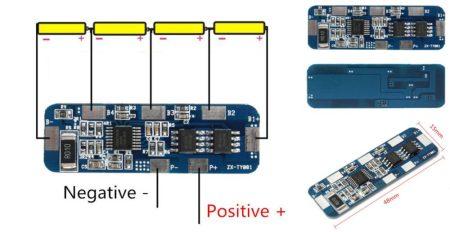 Li-ion 18650 Cella védelemmel ellátott modul BMS - 4 Cella töltés, és merítés védelméhez 6-7A RENDELÉS ALATT !!!!!!!