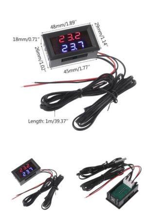 Hőmérő panel, dupla kijelző, dupla hőmérséklet mérés -20 - +100 fok LED piros-kék AKCIÓS !!!! RENDELÉS ALATT !!!!!!