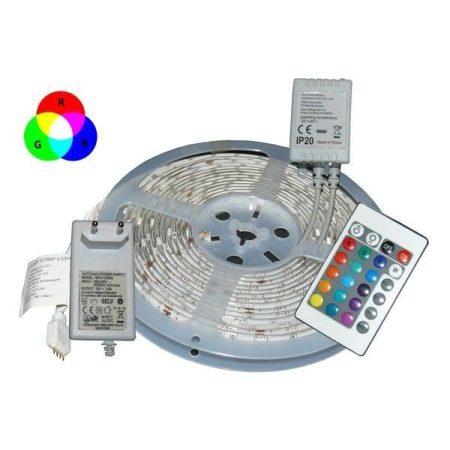 5m-es színes LED szalag szett, RGB, tápegységgel és távirányítóval AKCIÓS !!!! KIFOGYOTT !!!!